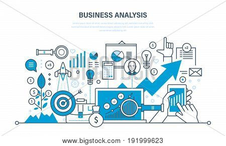 Business analysis, data analytics and research, strategy statistic and planning, marketing, seo, study of performance indicators. Development, investment growth. Illustration thin line design