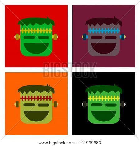 assembly of flat icons halloween emotion monster