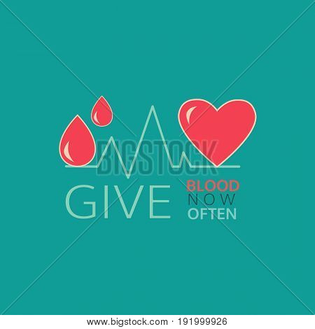 Donate blood icon. Hand drawn style. Safe life concept. Blood transfusion poster graphic element. Donation medical symbol. Donor Day emblem banner background. Vector red drop heart sign illustration