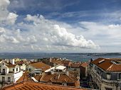 panoramic view of portugal capital city as seen from Bairro Alto hills poster