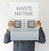 Waste No Time Valuable Management Countdown Timer Graphic poster