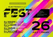 Bright DJ Poster for Open Air. Electronic Music Cover for Summer Fest or Club Party Flyer. Colourful Green Background with Trendy Geometric Shapes. A4 Horizontal orientation. Techno Dub Dubstep. poster