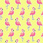Beautiful seamless pattern with flamingo. Pink flamingo on bright yellow background, trendy fashion textile print, pop art vector design. Retro 80s style poster
