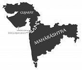 Gujarat - Daman and Diu - Dadra and Nagar Haveli - Maharashtra - Goa Map Illustration of Indian states poster