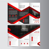Red lael business trifold Leaflet Brochure Flyer report template vector minimal flat design set abstract three fold presentation layout templates a4 size poster