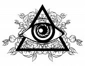 Vector hand sketched illustration. All seeing eye pyramid symbol with flowers. New World Order. Hand drawn Eye of Providence. Alchemy religion spirituality occultism tattoo art. Template for poster print for t-shirt. poster