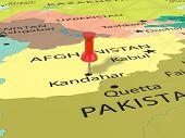 Pushpin on Kandahar map background. 3d illustration. poster