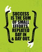 Success Is The Sum Of Small Efforts, Repeated Day In Day Out. Inspiring Creative Motivation Quote Poster Template. Vector Typography Banner Design Concept On Grunge Texture Rough Background poster