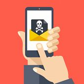 Hand holding smartphone with received envelope with black document and skull icon. Email fraud, virus, malware, e-mail spam, phishing concept. Flat design graphic with long shadow. Vector illustration poster