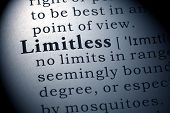 Fake Dictionary Dictionary definition of the word Limitless. poster