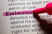 Fake Dictionary Dictionary definition of the word estimates. poster