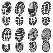 Running sport shoes vector footprint set. Silhouette of sole print, black track shoe illustration poster