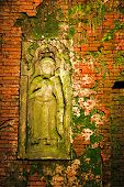 Traditional Thai a bas-relief of wall. It is photographed on Koh Chang island. Thailand poster