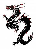 Silhouette of a black dragon on a white background poster
