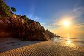 Beautiful sunset at tropical beach. Thailand poster