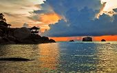Tropical sunset in the sea. Thailand poster