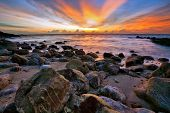 Beautiful sunset in the sea. Thailand poster