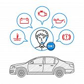 Car maintenance manager vector illustration. Car technical assistant concept with warning signs: check engine oil pressure generator coolant level brake system. poster