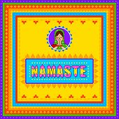 Vector design of Namaste meaning Greetings background in Indian Truck Art style poster