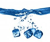 ice cubes dropped into water with splash isolated poster