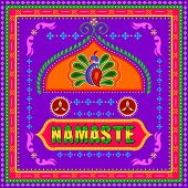 Vector design of Namaste background in Indian Truck Art style poster