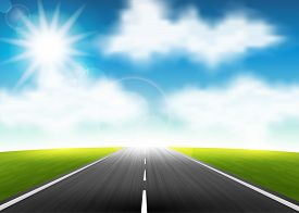 Vector illustration of a highway to the horizon