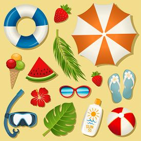 Set of vector summer elements for bright design