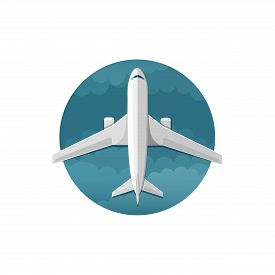 Vector icon of airplane top view on white background