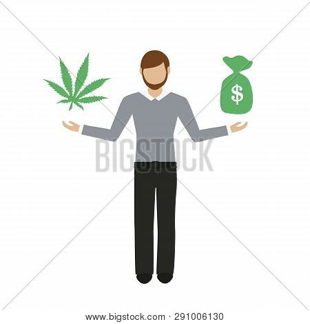 Man Makes Money With Cannabis Character Isolated On White Background Vector Illustration Eps10