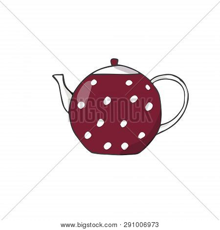 Porcelain Teapot Exhibit Red Dishes Drawing Clip Art Vector Color Element Cute Cup Tea Coffe Kitchen