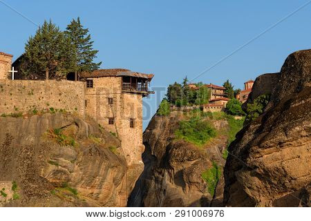 Magnificent Spring Landscape.beautiful View On The Holy Monasteries Of Great Meteoron And Varlaam Pl