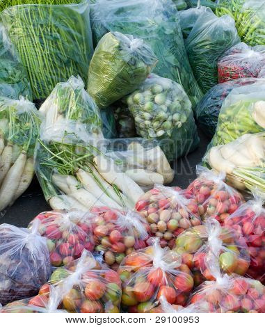 Many Kinds Of Vegetables Packed In A Plastic Bag