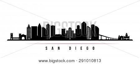 San Diego City Skyline Horizontal Banner. Black And White Silhouette Of San Diego City, Usa. Vector