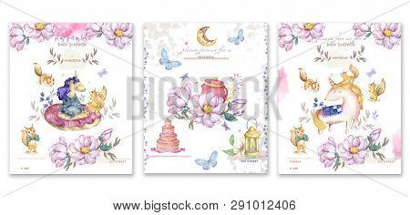Set Cards Watercolor Isolated Cute Watercolor Unicorn And Sqirrel Clipart. Nursery Unicorns Illustra