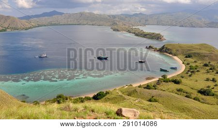 Flores, Indonesia - July 2, 2018: Tourist Boats From The Top View Of Gili Lawa In An Evening, Komodo