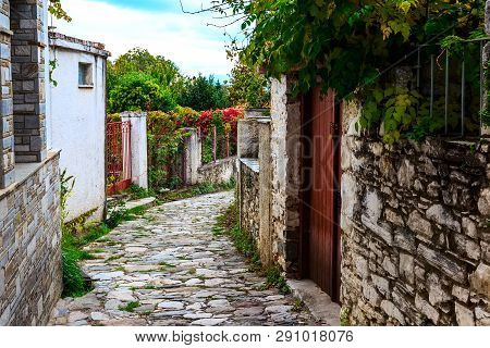 Street View At Portaria, Village In Pelion, Thessaly, Greece