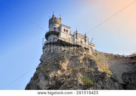 Castle Swallow's Nest In Crimea On Black Sea In Russia. Summer Evening