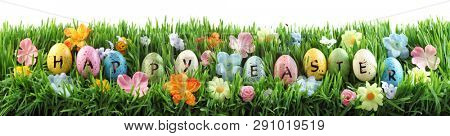 Bright colorful Easter eggs saying Happy Easter on green grass with flowers