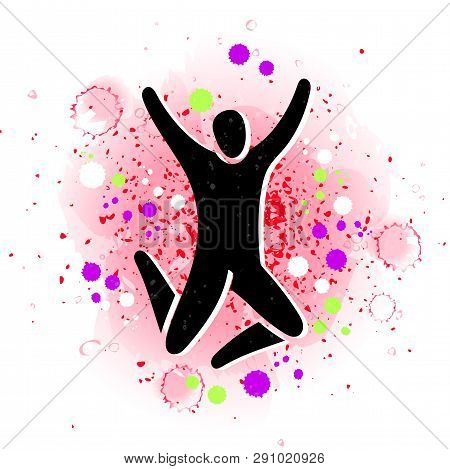 Vector Illustration Of Jumping People. Man Woman Kid Silhouette. Body Figure Icon Sign. Trampoline P
