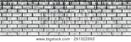 Wide Old White Shabby Brick Wall Texture. Light Gray Aged Masonry Panorama. Whitewashed Brickwork Pa