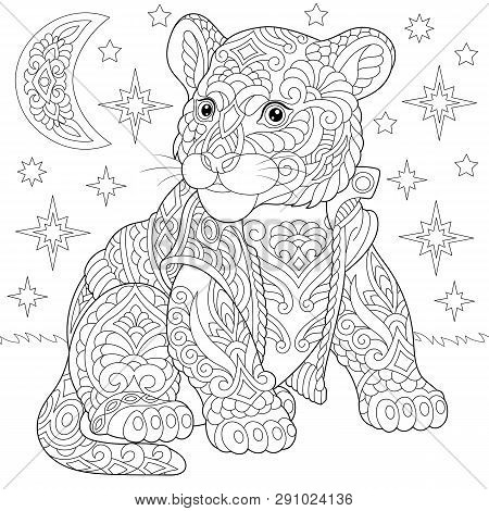 Coloring Page. Coloring Book. Anti Stress Colouring Picture With Tiger Baby Cub. Freehand Sketch Dra