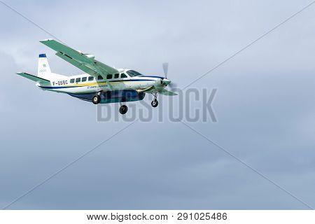 Philipsburg, St Maarten - November 16, 2018 - St Barth Commuter Aircraft, A Cessna 208b Grand Carava