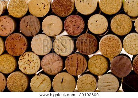 wine corks tops closeup background