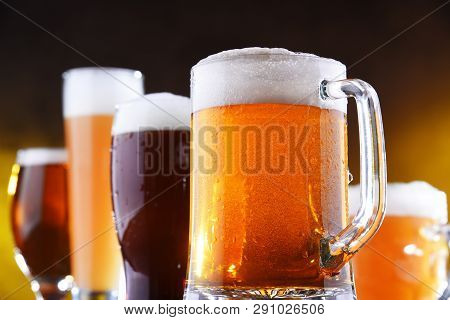 Composition With Five Glasses Of Beer