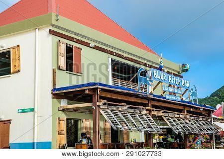 Philipsburg, St Maarten - November 16, 2018 - Blue Bitch Bar In Philipsburg Sint Maarten