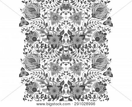 Flower Borders With Fantastic Flowers. Vintage Flowers Backgrounds And Borders. Floral Wallpaper. De