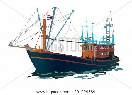 Thai Fishing Ship Vector Illustration. Wooden Native Boat On The Sea.