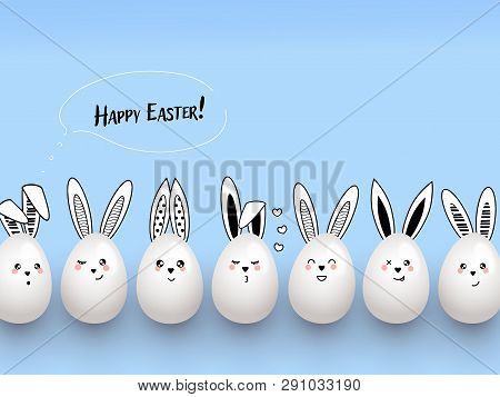 Happy Easter Funny Cute Rabbits With Calligraphic Text, Clouds And Easter Eggs On Light Blue Backgro