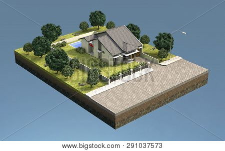 Low Poly 3d Rendered  house Vector Illustration Idea