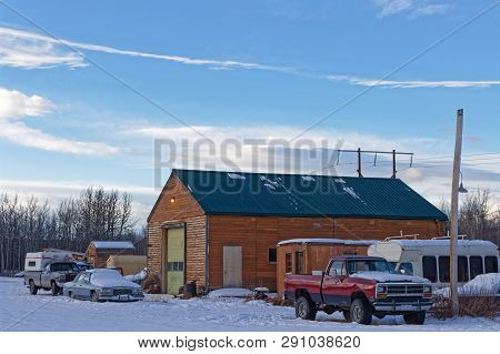 Whitehorse, Yukon, Canada, March 10, 2019 : Braeburn Lodge, One Of The Few Gas Station On The Klondi